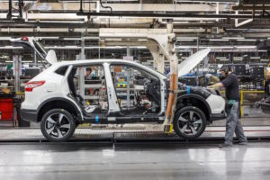 Nissan Qashqai being built on NMUK Line 1 with an operator